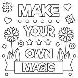Make your own magic. Coloring page. Vector illustration. Make your own magic. Black and white vector illustration Royalty Free Stock Photography