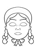 Make your own mask. Coloring activity page for kids to create their own masks for puirm Stock Photo