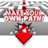 Make Your Own Path Arrow Through Maze Independent Original Route Stock Images