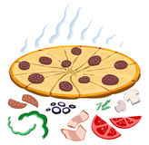 Make your own pizza. Tasty pizza with same components vector illustration