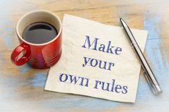 Make your own rules advice on napkin Royalty Free Stock Photos