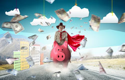 Make your savings work for you. Young businesswoman riding on piggy bank presenting banking and saving concept Stock Images