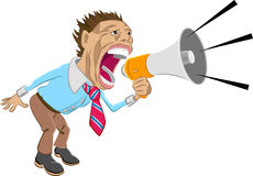 Make yourself heard. A man shouting into a megaphone royalty free illustration
