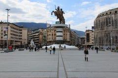 Makedonia quadrado, o quadrado principal de Skopje, Fotos de Stock