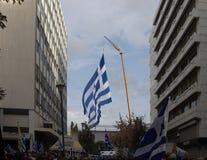Makedonien namntvist samlar protesten Grekland Royaltyfri Foto