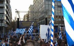 Makedonien namntvist samlar protesten Grekland Royaltyfri Fotografi
