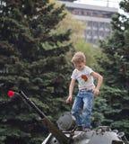 Makeevka, de Oekraïne - Mei, 9, 2012: Het vieren van de verjaardag van Royalty-vrije Stock Foto