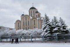 Makeevka, de Oekraïne - November 2, 2017: Kerk van de Kathedraal van St George Royalty-vrije Stock Fotografie
