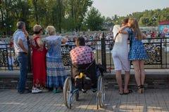 Makeevka, Ukraine - August 26, 2017: Children participate in the evening contest Stock Photo