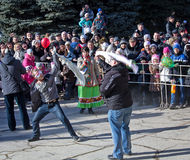 Makeevka, Ukraine - February, 22, 2015: Comic fight during festi Stock Photo