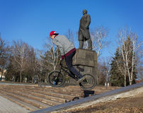 Makeevka, Ukraine - February, 22, 2015: Extreme stunts on the ba Stock Image