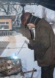 Makeevka, Ukraine - January 14, 2013: Welder working in the mine Stock Photos