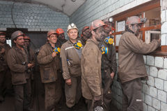 Makeevka, Ukraine - June 11, 2013: Miners of the mine `Cholodnaya Balka`. After the working shift Royalty Free Stock Image