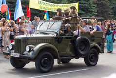 Makeevka, Ukraine - May, 9, 2012: Historic parade in honor of th Royalty Free Stock Photography
