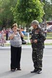Makeevka, Ukraine - May, 9, 2012: Participants of the historical parade Royalty Free Stock Photos