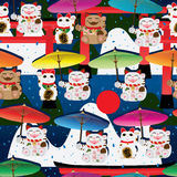 Makeki-Regenschirm Torii-Gebirgsnahtloses Muster Stockbild