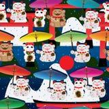 Makeki umbrella Torii mountain seamless pattern. This illustration is drawing and design Japanese Maneki Neko with umbrella and background Torii, mountain, Japan Stock Image
