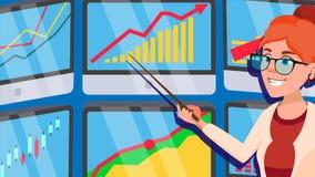 Makelaar Female Vector Effectenbeursmakelaar Grafieken, Gegevensanalyses Uitwisselend online voorraden Bureau 21 Handelarenbureau royalty-vrije illustratie