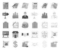 Makelaar in onroerend goed, agentschap mono, overzichtspictogrammen in vastgestelde inzameling voor ontwerp Het kopen en het verk vector illustratie