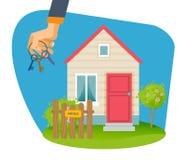 Makelaardij Hand met sleutels op verkopend huis als achtergrond stock illustratie