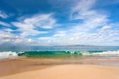Makena beach. Beautiful tropical background beach with nice blue water Stock Photos