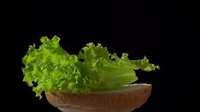 Makend Hamburger de delen verzamelen brood gezette salade stock footage