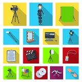 Makend tot een film vlakke pictogrammen in vastgestelde inzameling voor ontwerp Attributen en illustratie van het de voorraadweb  vector illustratie