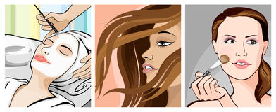 Makeover. Illustration of ladies in beauty makeover icon Stock Photo