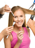 Makeover process of a young teen girl Royalty Free Stock Image