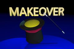 Makeover Redo Refresh New Look Magic Hat Wand. 3d Illustration Royalty Free Stock Photography
