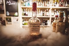 Maker`s Mark alcohol bottle in a bar royalty free stock image