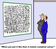 It makes complete sense. Business cartoon showing two businessmen looking at complex formulas. One man says, 'When you put it like that, it makes complete sense stock illustration