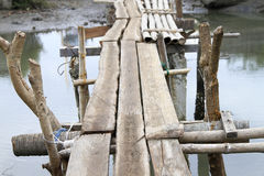 Makeshift bridge made of bamboo and wood Stock Photography