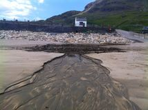 Makeshift dam. Muckross beach, Kilcar, Co Donegal, Ireland Royalty Free Stock Image