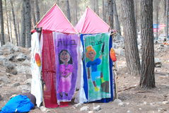 Makeshift decorated latrines in an Israel Scout summer camp Stock Images