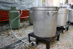 Makeshift kitchen for the preparation of food for refugees Stock Image