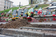 Makeshift memorial at Maydan  Nezalezhnosti square in Kiev Royalty Free Stock Photography