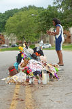 Makeshift Memorial Where Michael Brown was Shot Stock Photography