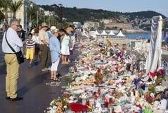 Makeshift memorials along the Promenade des Anglais in Nice Stock Image