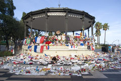 Makeshift memorials along the Promenade des Anglais in Nice Royalty Free Stock Image