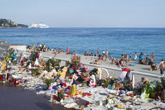 Makeshift memorials along the Promenade des Anglais in Nice Stock Photos