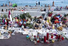 Makeshift memorials along the Promenade des Anglais in Nice Royalty Free Stock Images