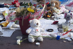Makeshift memorials along the Promenade des Anglais in Nice Royalty Free Stock Photography