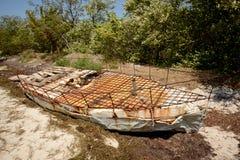 Makeshift or refugee raft. Cuban refugee raft off the coast of Florida Royalty Free Stock Photo
