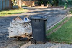 Makeshift trolley to collect recyclables. Makeshift trolley used by jobless people in Johannesburg South Africa to collect recyclable products from household royalty free stock image