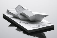 Maket futurista da casa - ideia conceptual da arquitetura 3d rendem Fotografia de Stock Royalty Free