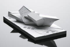 Maket futurista de la casa - idea conceptual de la arquitectura 3d rinden Fotografía de archivo libre de regalías