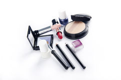 Makeuo kit. Makeup kit on white background Stock Images