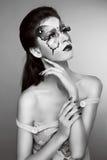 Makeup. Πορτρέτο τέχνης προσώπου μόδας. Γραπτή φωτογραφία. Στοκ Εικόνες