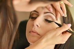 makeup Σύνθεση Σκιές ματιών Βούρτσα σκιών ματιών Στοκ εικόνα με δικαίωμα ελεύθερης χρήσης